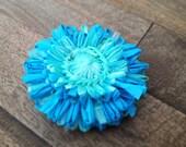 Aqua Blooming Plastic Bag Pin