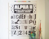 """Typography Page - Large Vintage Alpha Metro Poster - Gray Black White - Sample From Newspaper Advertising Service Book - 16 1/2"""" x 22"""""""