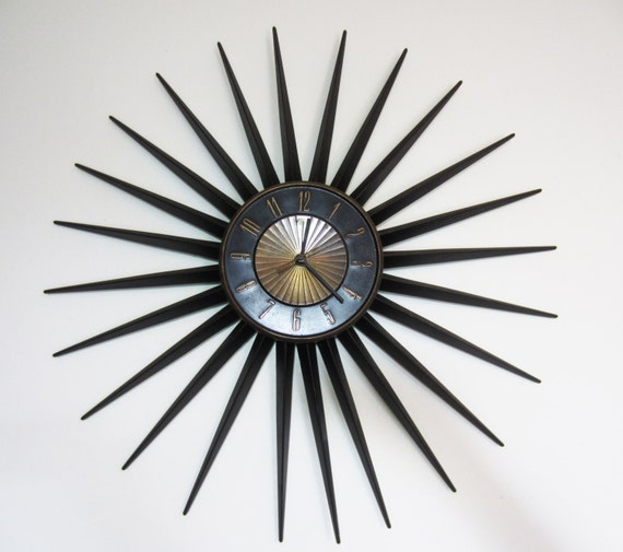 Large Vintage Elgin Starburst Wall Clock 24 Diameter