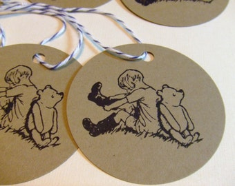 Classic Winnie the Pooh and Christopher Robin Gift Tags - Set of 6