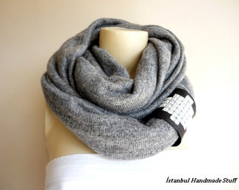 Grey Knit Fabric  Infinity Scarf/Circle Scarf /Loop Scarf/Tube Scarf with Leather Cuff