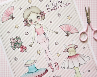 Alina the Ballerina paper doll - made to order