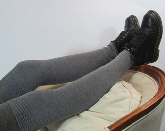 Wool Thigh High Over the Knee Socks Charcoal Gray Leg Warmers Knit Boot Sock Extra Fine Merino Wool A824