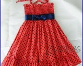 Coral orange and Navy blue polka-dot dress - Coral ruffle dress for girls - ( available in size 12m. to 6 years) - coral orange ruffle dress