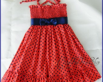 Coral orange dress for girls, Coral ruffle dress for girls, Girls coral party dress, Navy blue polka dot coral dress ( Size 2T)