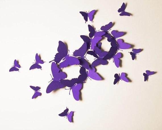 mur 3d papillons violet papillon silhouettes pour chambre de. Black Bedroom Furniture Sets. Home Design Ideas