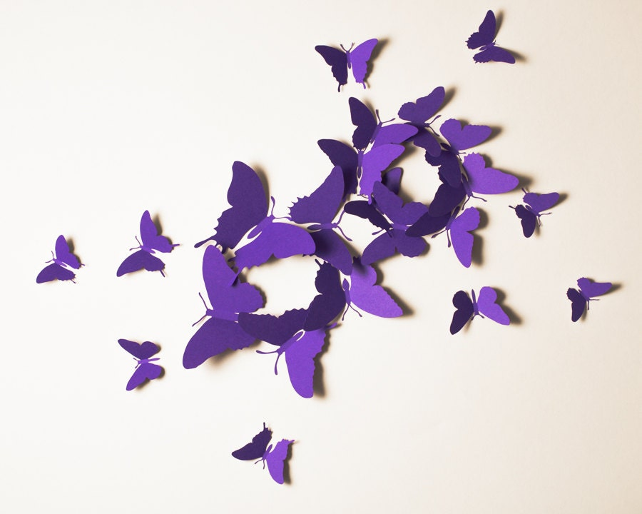 3d wall butterflies violet butterfly silhouettes for girls for Decoration murale papillon 3d