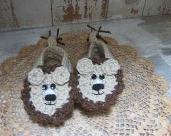 Crocheted Baby Lion Booties