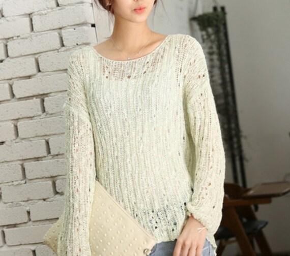 1786184d0a12 Green Vintage Net sweater summer sweater knit sweater womens sweater knitted   summer loose sweater grunge style