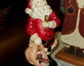 Santa Claus Figure Christmas Rustic Vintage Old Fashion Large 9.5 inches Tall