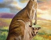 Kangaroo wildlife animal large 36x24 oils on canvas painting by RUSTY RUST / K-10