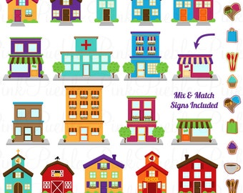 City Clipart Clip Art, Printable House Village Town Clip Art Clipart and Vectors - Commercial and Personal Use