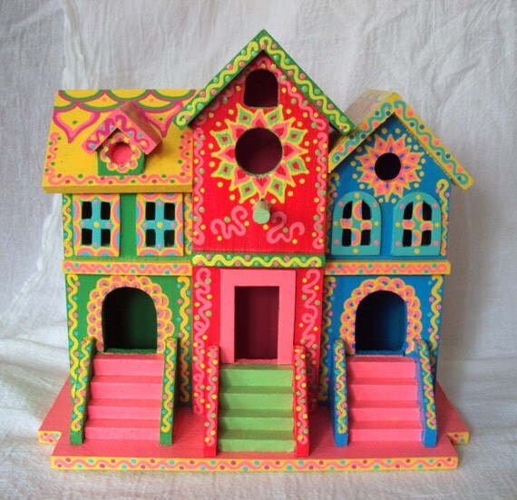 Whimsical Birdhouse Hand Painted Brownstone Style Pink Green Yellow ...