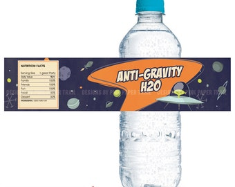 Alien, Space Ship, Outer Space Themed Water Bottle Label, Print your own, Digital File, Instant download