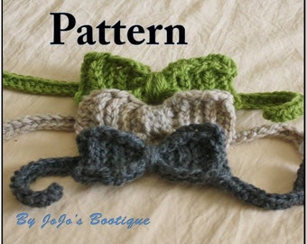 PDF Bow Tie PATTERN - Textured Baby Bow Tie - Crochet Pattern - 3 Sizes - Newborn to Toddler -Crochet Bow Tie Pattern - by JoJosBootique