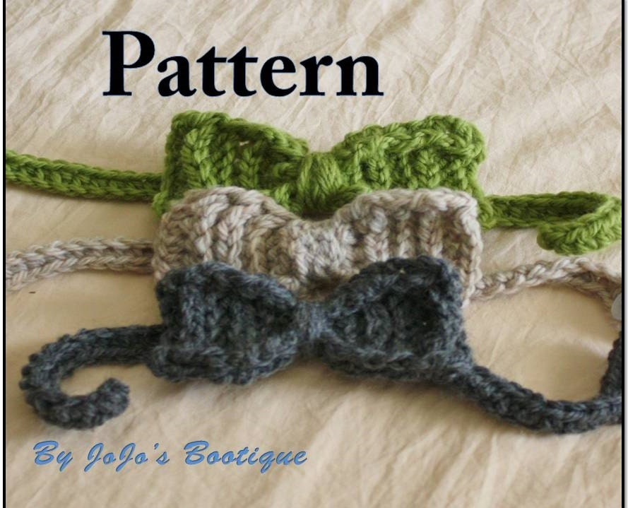Crochet Baby Hat With Ties Pattern : PDF Bow Tie PATTERN Textured Baby Bow Tie Crochet Pattern