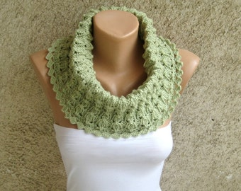Knitted Lace Scarf Cowl, Circle Women Lime Neckwarmer, Autumn Winter Acrylic Wrap, Trendy Knitted Accessory, Hand Crochet Office Shawl Cowl