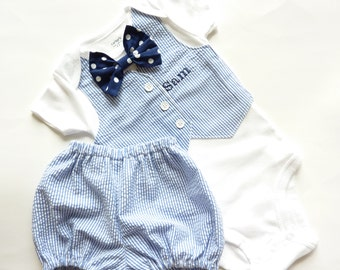 Navy Blue Seersucker Tuxedo Bodysuit Vest with Matching Diaper Cover, Removable Polka Dot Bow Tie