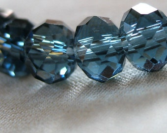 "6mm Montana Blue Faceted Crystal Rondelle Beads, 6mm x 4mm, 7.5"" Strand, 49-50 beads"