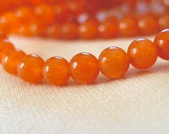 """Red Aventurine, Orange 4mm Round Beads, full 16"""" strand"""