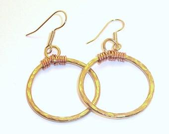 Bronze & Copper Hoop Earrings Free Shipping