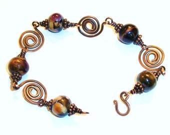 Copper Swirl Link Bracelet, Free US Shipping