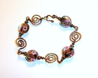 Copper Swirl Link Bracelet Free Shipping