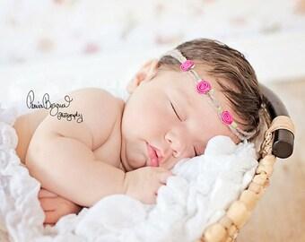 Baby Headband, Baby Tiny Pink Roses Tie Back Halo, Newborn Halo, Baby Delicate Flowers Headband, Newborn Photo Prop