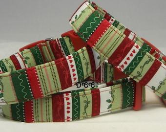 READY to SHIP Dog Collar Last One Elegant Merry Christmas Holiday Season Stripes Holly Hearts Love  Adjustable Dog Collar D Ring Acccessory