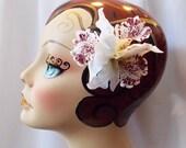 White Hawaiian Tiki Trio Orchid Flower Hair Clip, Rockabilly Pinup Hair Accessories