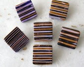Polymer clay buttons mokume gane set of 6 small square