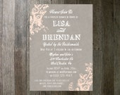 Couples Shower Invitation - Vintage Flowers Gray and Pink