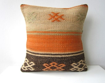 "Handwoven Turkish Kilim Pillow Cover 16"" X 16"", Modern Bohemian Home Decor,,Decorative Kilim Pillow,Vintage Kilim Pillow,Throw Pillow"