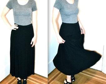 90s Vintage Black Pleated Skirt Size Large by Calvin Klein Classics // Midi Length Black Silk Skirt Pleated in Silk