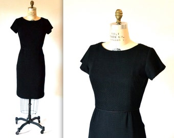 60s Vintage Black Dress Size Small Medium/// Black 1960s Dress Sheath Dress Breakfast At Tiffanys Size Small/Medium