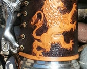 Pewter Tankard with Hand-Tooled Leather Rampant Lion Wrap