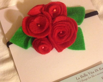Red roses headband baby/ child/ adult