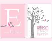 """Pink and Gray Nursery Baby Gift Personalized Baby Name/Birthdate Print and Initial/Monogram Print-  Set of two 5""""x7"""" prints (Pink/gray)"""
