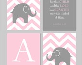 "Pink and Grey Nursery  - Elephant Chevron Silhouette, Scripture Sign and Monogram - Art for Nursery - Set of four 8""x10"" prints"