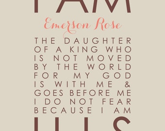I Am His Daughter of a King Personalized Scripture Poster - Christian Baptism Christening Gift - Nursery Girl Decor - 16x20 Poster Print
