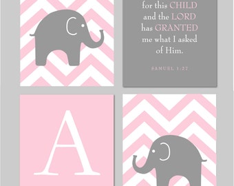 """Pink and Grey Nursery  - Elephant Chevron Silhouette, Scripture Sign and Monogram - Art for Nursery - Set of four 8""""x10"""" prints"""