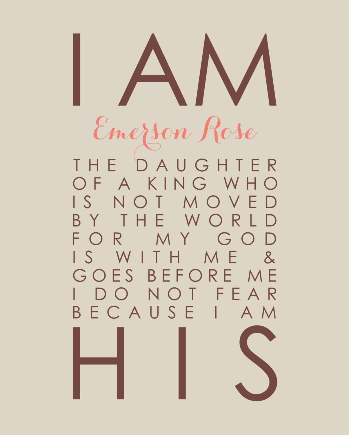 I Am His Daughter Of A King Personalized Scripture Poster