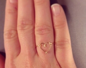Heart ring 14k gold filled