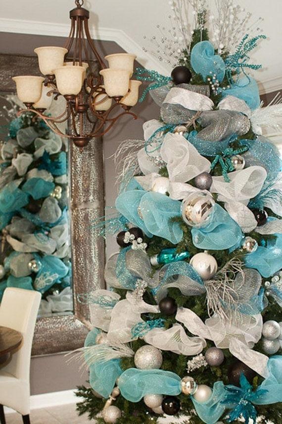 Christmas blue ribbon tulle garland decoration shabby chic - Navidad shabby chic ...
