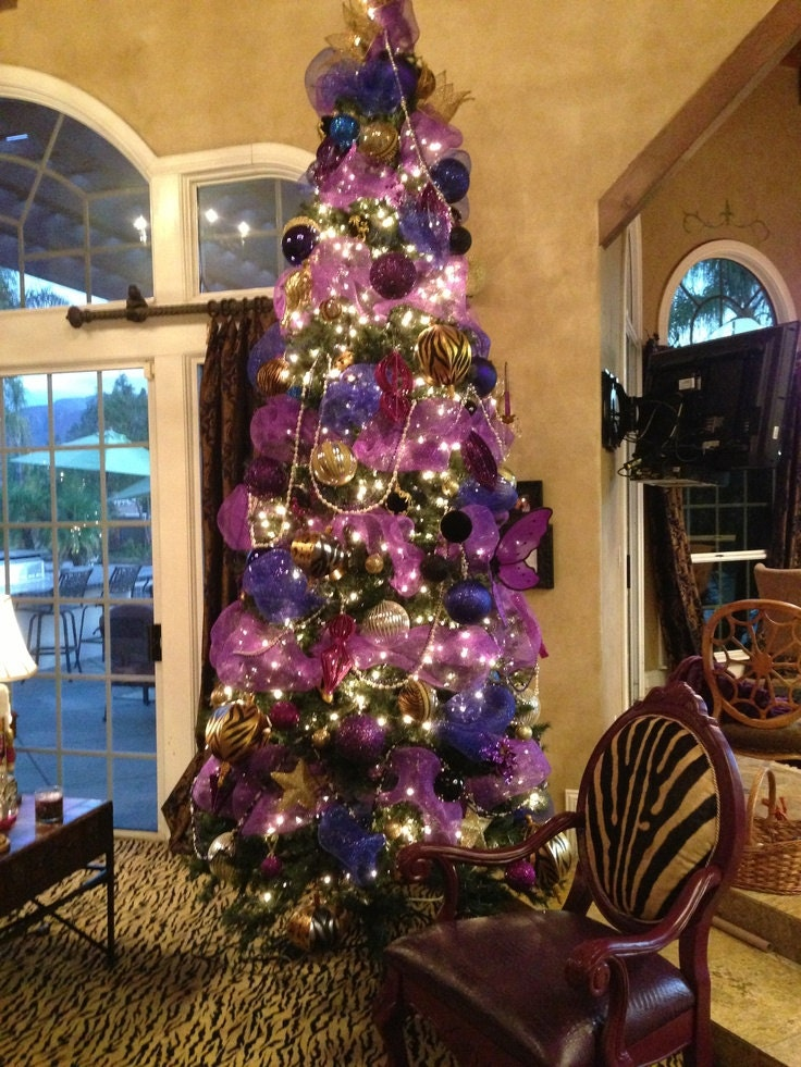 Christmas Purple Tulle Ribbon Garland Ornament Tree Topper ...