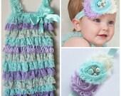 Baby headband and  petti lace romper SET,petti romper,baby headbands, baby girl headband,girls petti romper, aqua romper, hair bows,