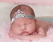Baby Headband, Princess Tiara Headband, PInk Baby Tiara, Princess Headband,Baptism headband, Christening Headband,Hair bows, Crown Headband.