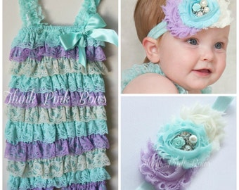 Baby headband and  petti lace romper SET,petti romper,baby headbands, baby girl headband,girls petti romper, aqua romper, hair bows,