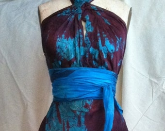 Red and turquoise blue silk wedding dress mother of the bride tie dye boho chic dress plus size boho chic bridal one of a kind dress