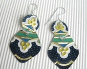 Black Patterned Recycled  Vintage Tin Dangle Earrings